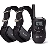 Shock Collar for 2 Dogs,Training Methods with Remote:Vibration/ Flashing/ Beep/ Electronic Shock ,Rechargeable Battery and Waterproof,fit for 10Lbs Samll dogs to 100Lbs Big Dogs, 1000ft Range