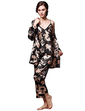 a4026e2329 Women s Satin Silk Pyjamas Set Sleepwear Sets Long Sleeve Pyjamas with Belt  Three Piece Set Tank