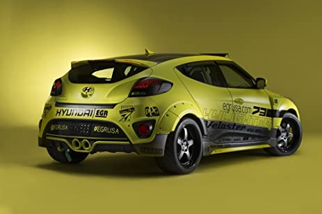 Hyundai Veloster Turbo Yellowcake Night Racer (2013) Car Art Poster Print on 10 mil