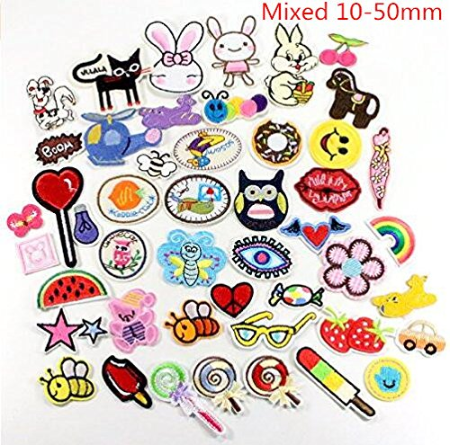 24pcs random styles embroidered fabric Iron-on or Sew-on patches/badges (Iron On Embroidered Patches)