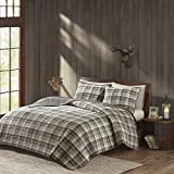 OSD 3pctone Grey Tan Brown Plaid Quilt Full Queen Set, Cabin Themed Bedding Checked Lumberjack Pattern Lodge Southwest Tartan Madras Hunting Country Cottage, Solid Color Cotton