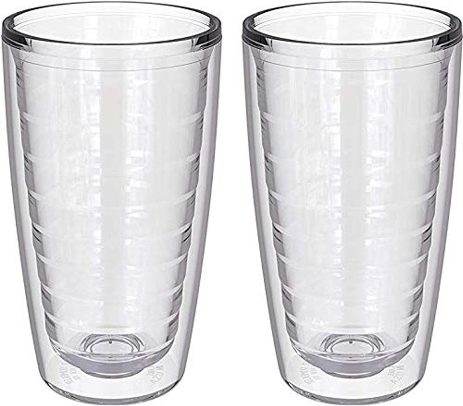 2-pack Insulated Tumblers 16 Ounce - Drinking Glasses Made in USA - Clear (16oz Insulated Glasses)