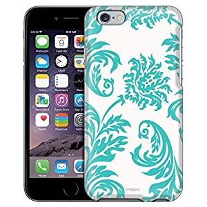 Apple iPhone 6 Case, Snap On Cover by Trek Damasks Vintage Turquoise on White Case