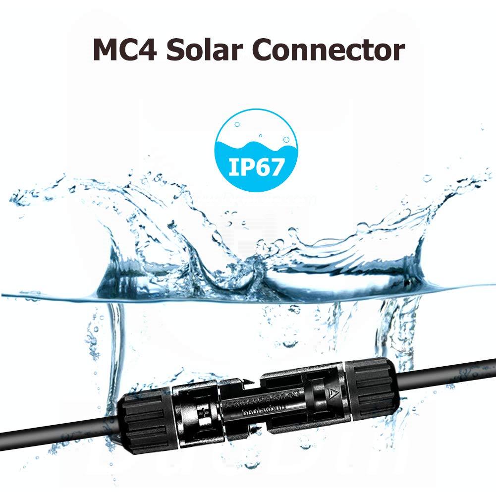 SolaMr Par de 6mm/² Cable de Extensi/ón Solar con Conectores Macho y Hembra MC4 para Sistema de Panel Solar 3M
