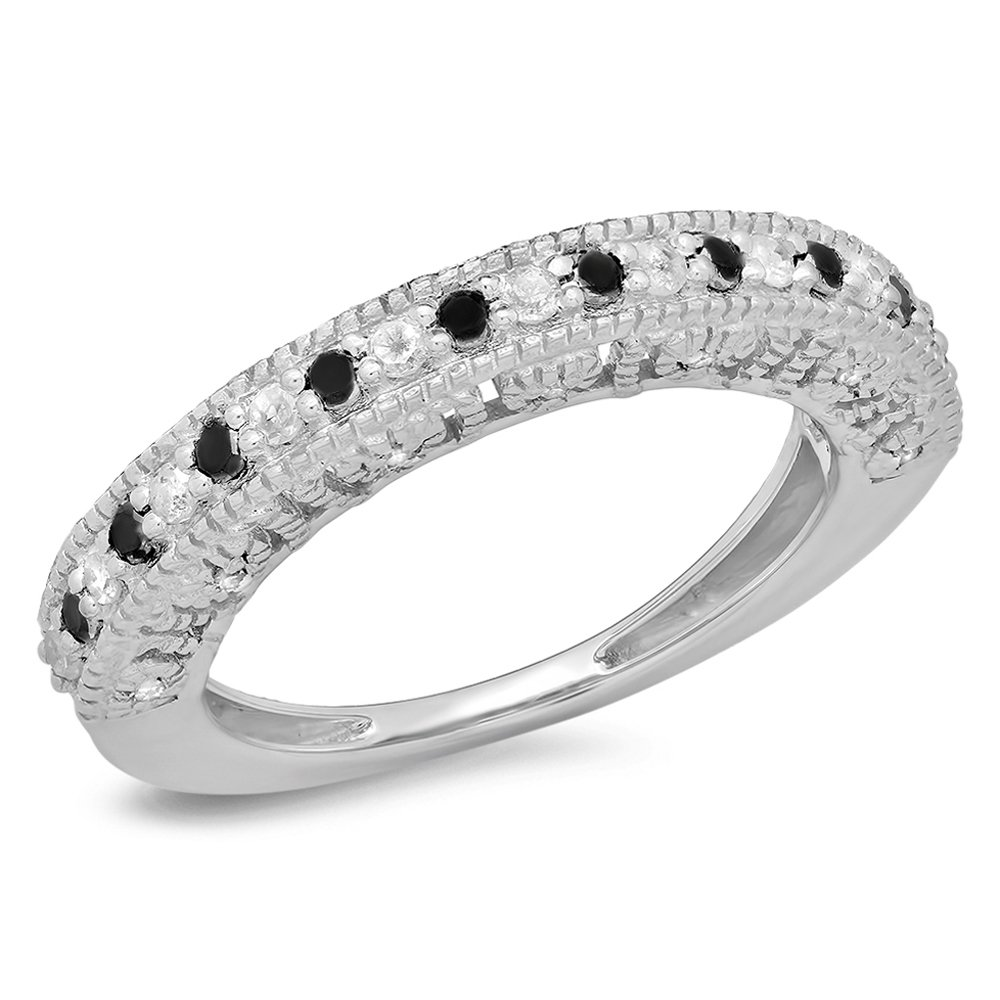 0.40 Carat (ctw) Sterling Silver Round Black & White Diamond Ladies Millgrain Style Wedding Band DazzlingRock K2399A-P