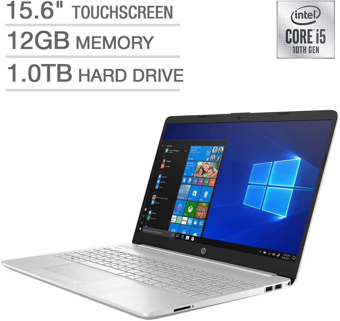 "HP 15.6"" Touchscreen Laptop - 10 Gen Intel i5-1035G1 12GB SDRAM 1.0TB 5400RPM SATA Hard Drive"