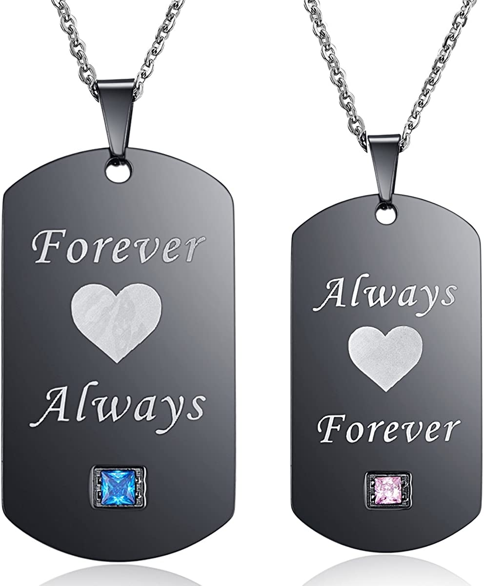Thintom Couples Necklaces His & Hers Matching Set Titanium ...