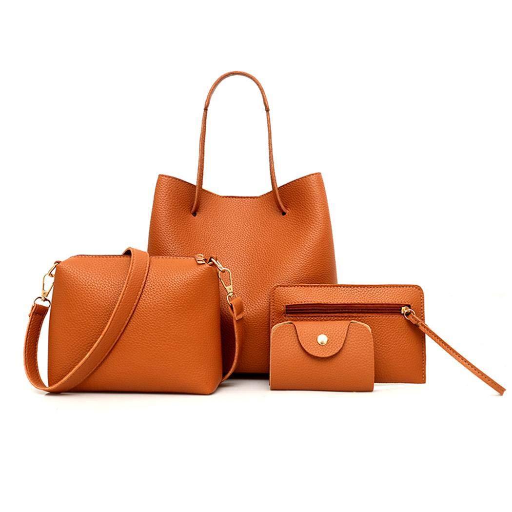 Brown GuGio 4 Pcs Set Women Shoulder Messenger Bag Purse Leather Zipper Handbag Solid Shoulder Messenger Bag Purse Set