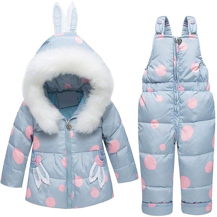 53ac73686d000 Bébés Combinaison de Neige Ski Doudoune Parka à Capuche Rembourré Filles  Garçons Manteau de Duvet Hiver avec Salopette Coupe-Vent Épais 2PCS 0-3 Ans