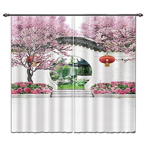 - LB Plum Peony Flower Blossom and Chinese Garden House Decor Window Curtain, Oriental Asian Culture Theme Curtain, Living Room Decoration Window Treatment, 84x63 Inches (2 Panels Size)