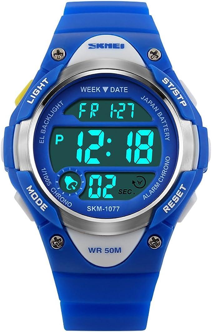 Niños reloj digital DEPORTE AL AIRE LIBRE resistente al agua cronómetro LED electrónico muñeca relojes para niños niñas