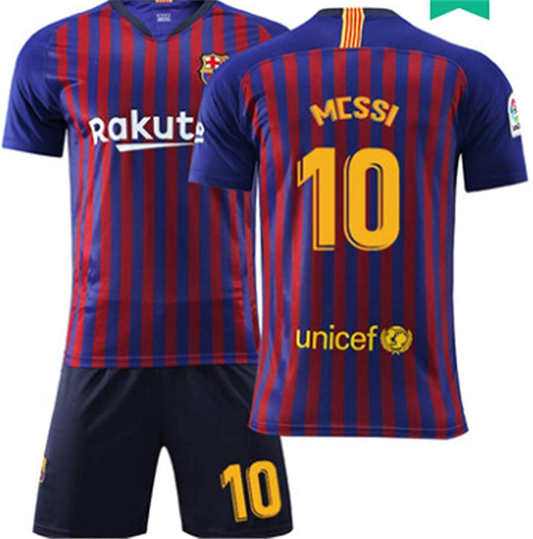 LISIMKE 2018-2019 Home Messi #10 Barcelona Kids Or Youth Soccer Jersey /& Shorts /& Socks