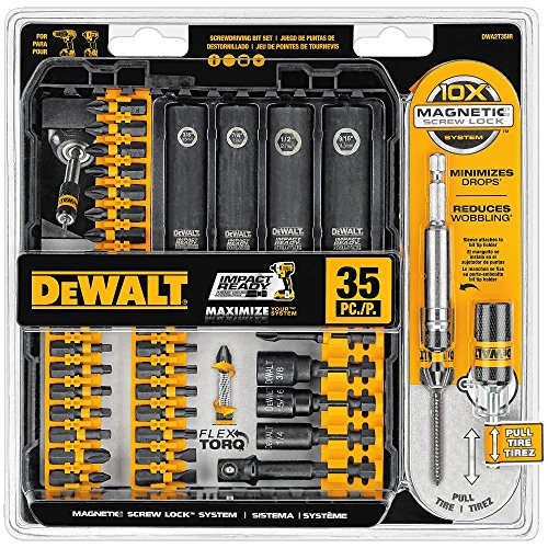 DEWALT DWA2T35IR 35 Piece IMPACT READY FlexTorq Screwdriving Bit Set, Black/Silver IMPACT READY FlexTorq Screw Driving Set, 35-Piece