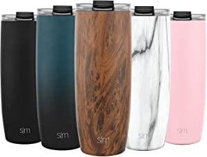Simple Modern 24oz Voyager Travel Mug Tumbler w/Clear Flip Lid & Straw - Coffee Cup Vacuum Insulated Flask 18/8 Stainless Steel Hydro Water Bottle Pattern: Wood Grain