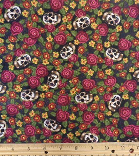 [Halloween Skulls & Flowers Cotton Fabric, 42