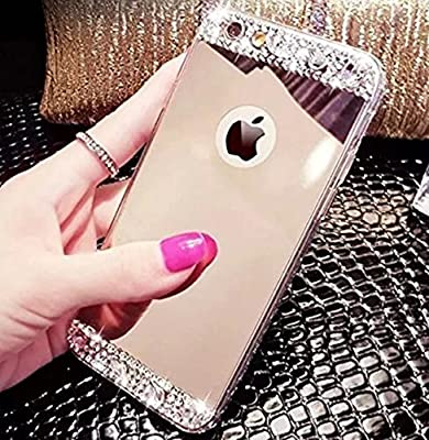 iPhone 6 Plus Case,Inspirationc® Luxury Diamond Mirror Soft TPU Silicone Cover for iPhone 6 Plus/6S Plus Case [Girl case] by Inspirationc