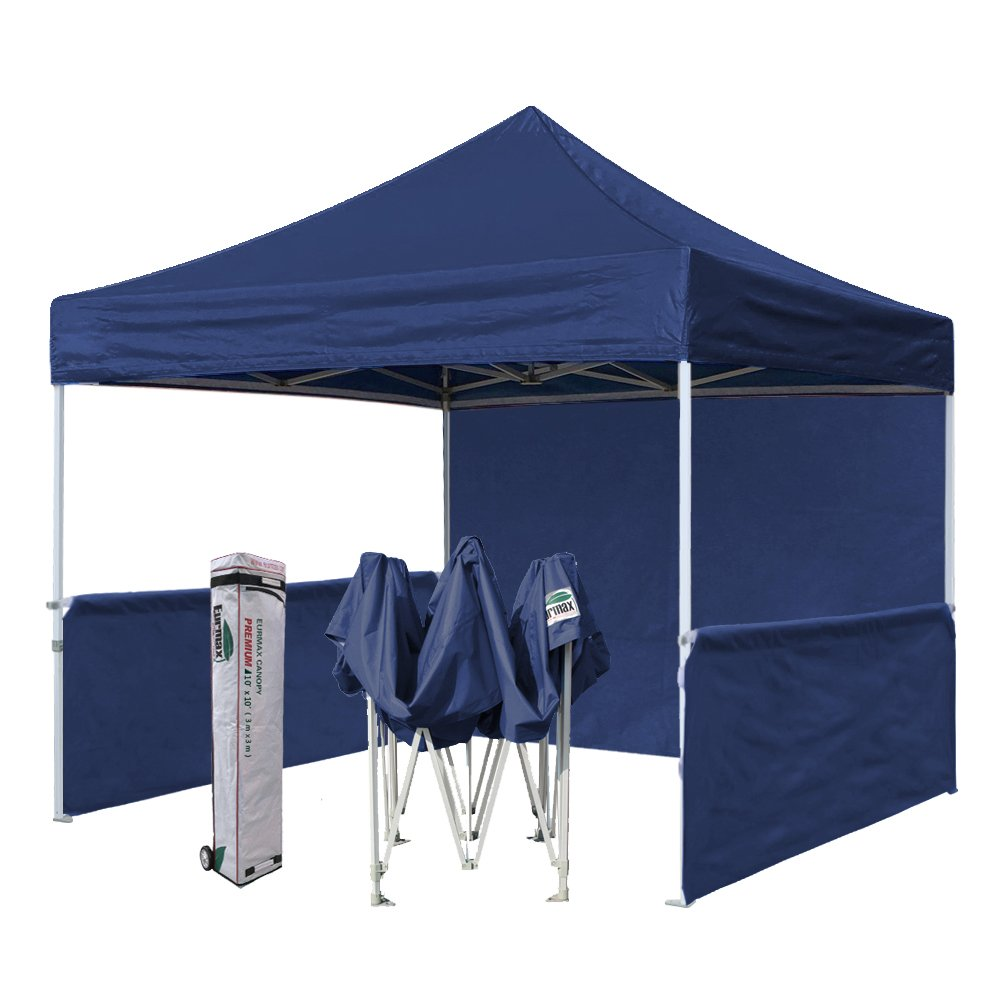 Eurmax Premium 10x10 Trade Show Tent Event Canopy Market Stall Canopy Booth Outdoor Canopy Bonus: Four (4) Weight Bags + Roller Bag (Navy Blue)