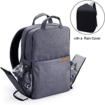 Mirrorless Cameras 13 inches Laptop and Other Accessories for Travel Lenses Outdoor Photography with Rain Cover Neewer Camera Backpack Bag Detachable Padded Camera Case for DSLRs Tripods Grey