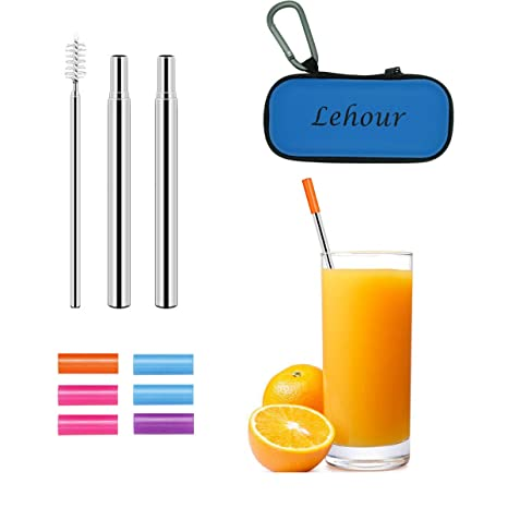 Amazon com: 2 Pack Reusable Collapsible Straw, Telescopic