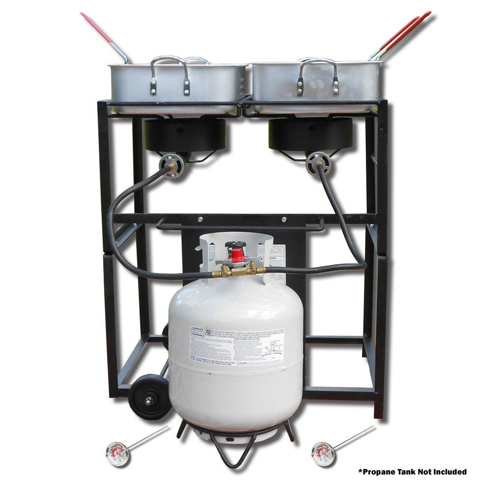 King Kooker KKDFF30T 30-Inch Dual-Burner Outdoor Propane Frying Cart by King Kooker