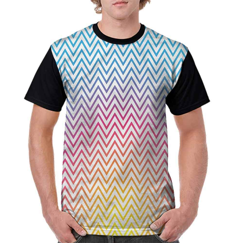 BlountDecor Trend t-Shirt,Angled Lines Ombre Effect Fashion Personality Customization