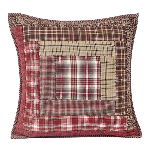 VHC Brands Rustic & Lodge Bedding Durango Cotton Hand Quilted Patchwork Square Cover Insert Pillow, 16