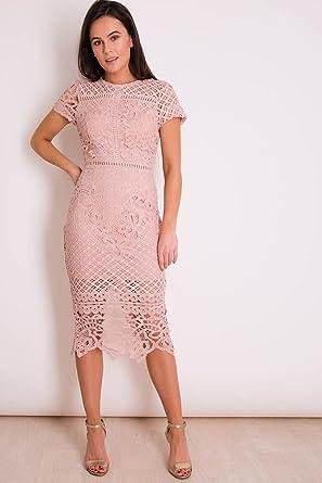 Vestry Dusky Pink Crochet Lace Dress Amazoncouk Clothing