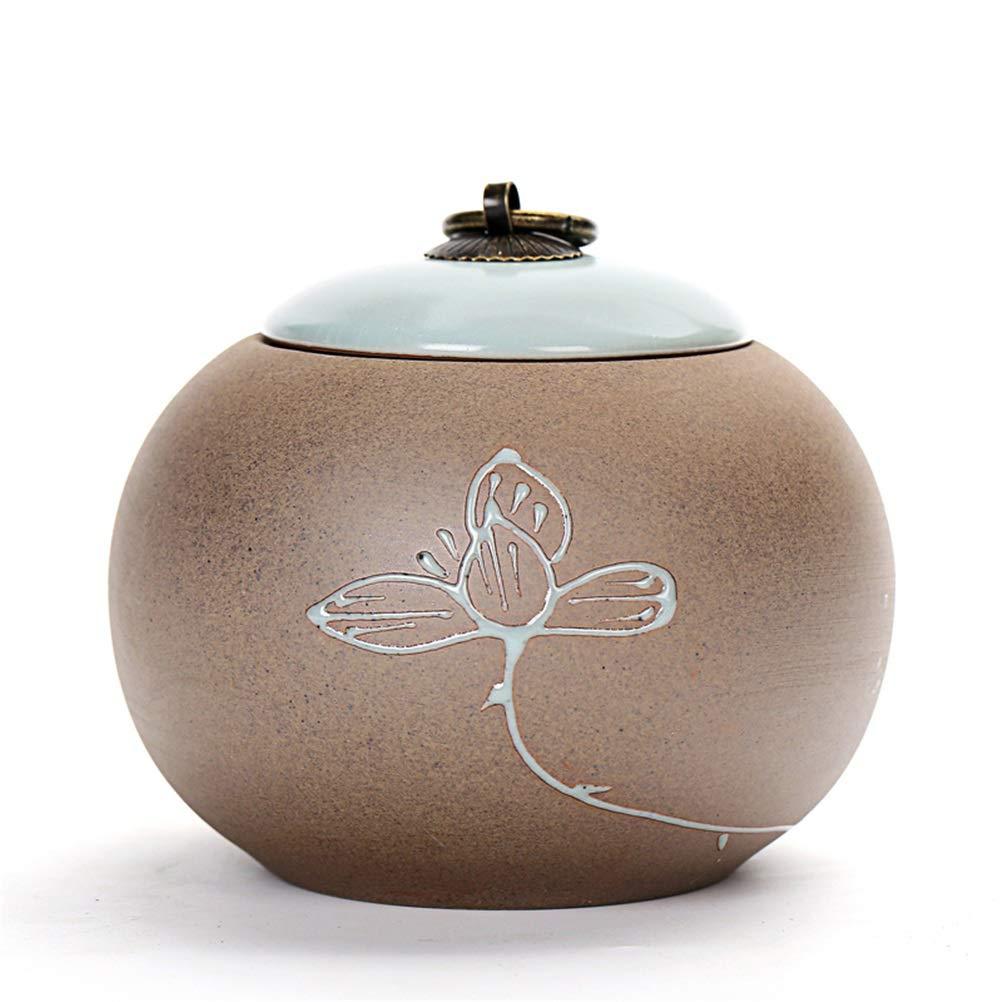 D Cremation Urn, Memorial Urns for Human or Pet Ashes, Ceramics Funeral Urn Suitable for Cemetery Burial or Niche,D