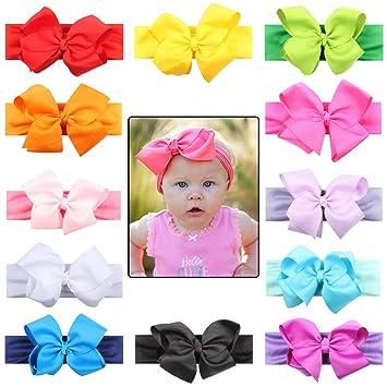 7b230056d Amazon.com  Nanafast Baby Girls Headbands 12 Pieces Grosgrain Ribbon ...