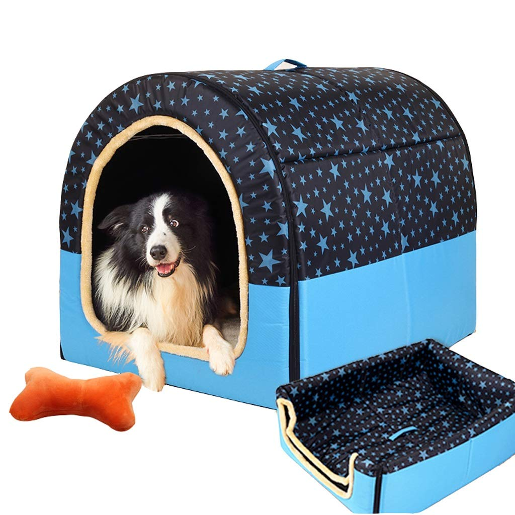 A XXLGuofangfang Kennel, 2 In 1 Dog House Large Dog Winter Warm Washable Mattress House Pet Supplies Cat Caves (color   B, Size   Xl)