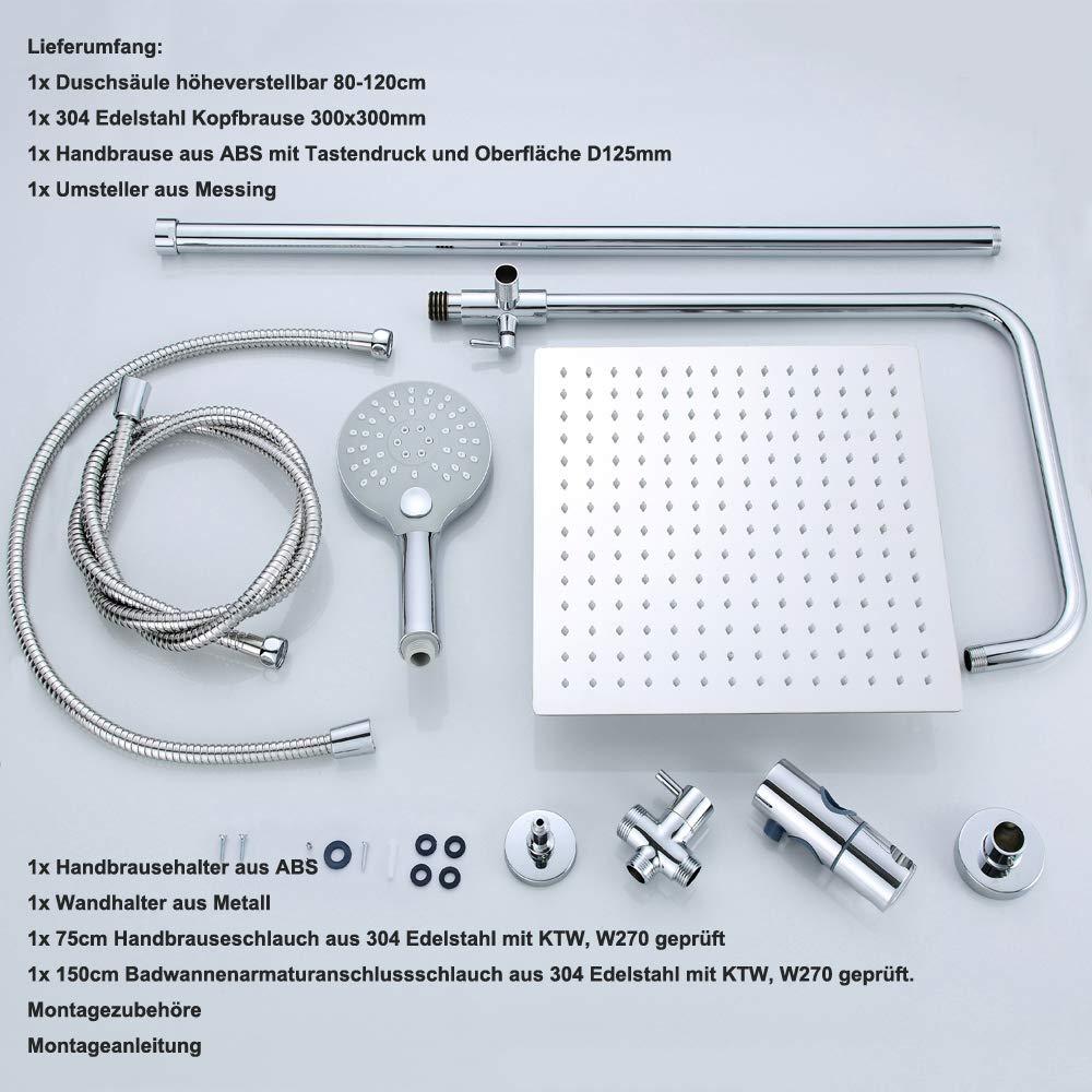 set doccia con soffione 25cm rotonda JOHO doccia set doccia sistema 304 in acciaio inox pioggia set con soffione doccia