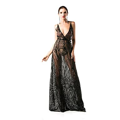 6e90410608 Missord Women V Neck See Through Split Sequin Maxi Evening Party Dress Black  X-Small