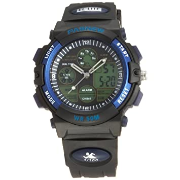Pasnew reloj 50M impermeable Unisex niños niñas hora Dual LED Digital analógico deportes reloj de pulsera con alarma de fecha Stopwatch Rubber Band (azul): ...