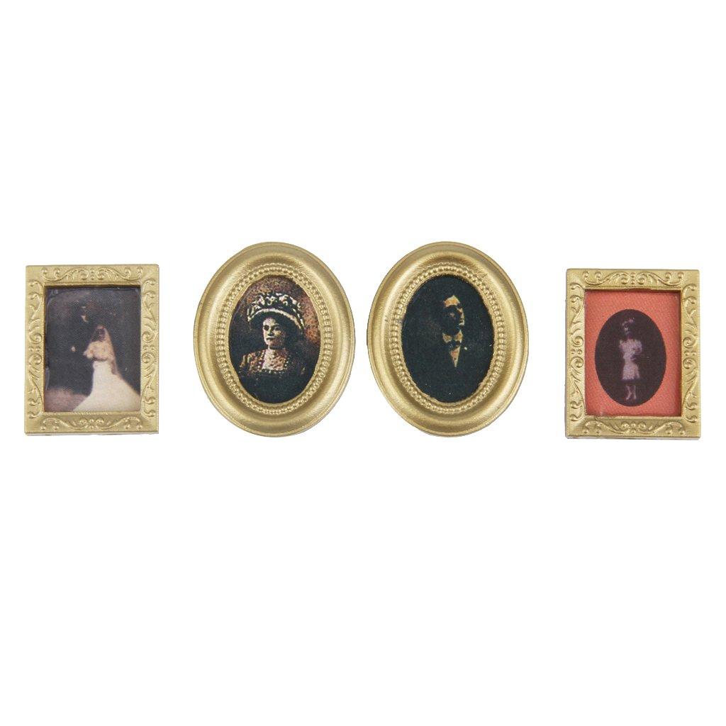 1:12 Dollhouse Miniature 4pcs Frame Mural Wall Painting Generic 15013862