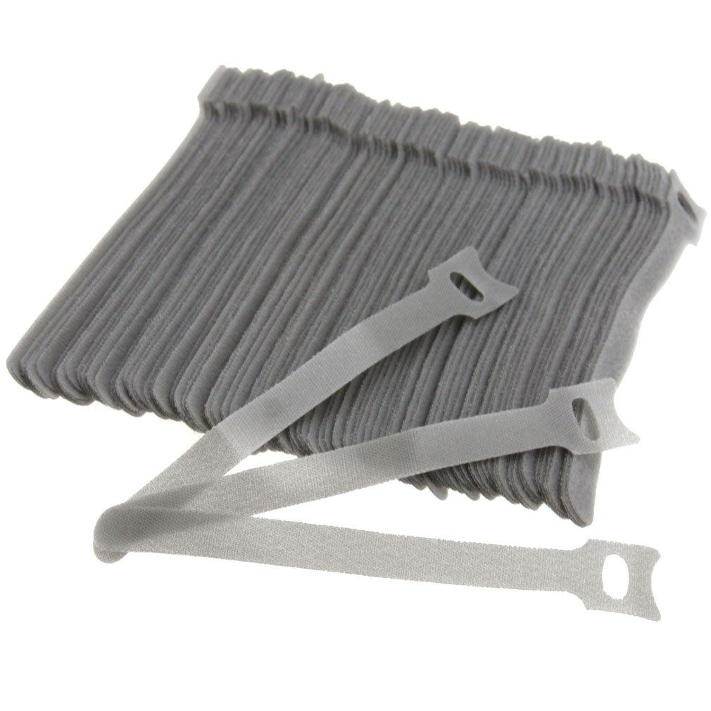 100PCS Reusable Gray Adjustable Cable Tidy Strap Ties Tidy Wrap Hook & Loop