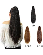 Kinky Straight Synthetic Yaki Ponytail Clip in Hair Extensions Hairpiece Soft Silky for Women 24inch-Claw (1b#)