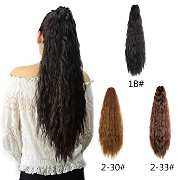 Amazon.com   Kinky Straight Synthetic Yaki Ponytail Clip in Hair Extensions  Hairpiece Soft Silky for Women 24inch-Claw (Black)   Beauty ce729382e3