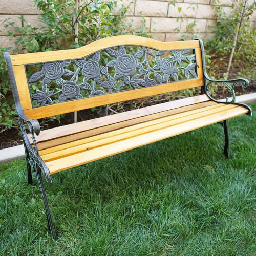 Outdoor 50'' Floral Patio Porch Deck Hardwood Cast Iron Garden Bench Chair Park by Alitop