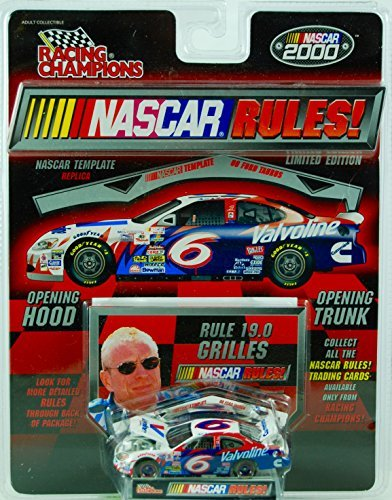 Authentic Metal (2000 - Racing Champions / NASCAR Rules - Rule 19.0 Grilles / Mark Martin #6 - Valvoline Ford Taurus - w/ Template / Collector Card- 1:64 Scale Die Cast - MOC - New - Collectible)