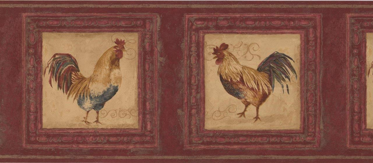 Roosters in Pictures Cherry AU5261B Wallpaper Border