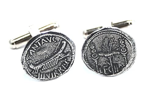 Mancuernas de la moneda de egipcio de Marc Anthony, peltre Inglés, hecho a mano