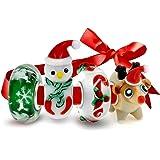 Bling Jewelry 925 Natale di vetro Bead 4 Charm Set