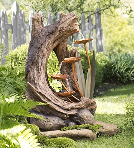 Indoor Outdoor Decorative Freestanding Woodland Stump Water Fountain Electric Pump Detailed Resin and Metal Construction Yard Garden Decor 17 L x 13.75 W x 26 H