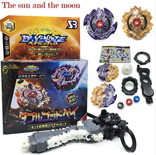 (The Sun and The Moon) Beyblade Burst B-48 B-66 B-34 B-35 B-41 B-59 Starter Zeno Excalibur .M.I (Xeno Xcalibur .M.I) with Launcher Kids Toys Bayblade