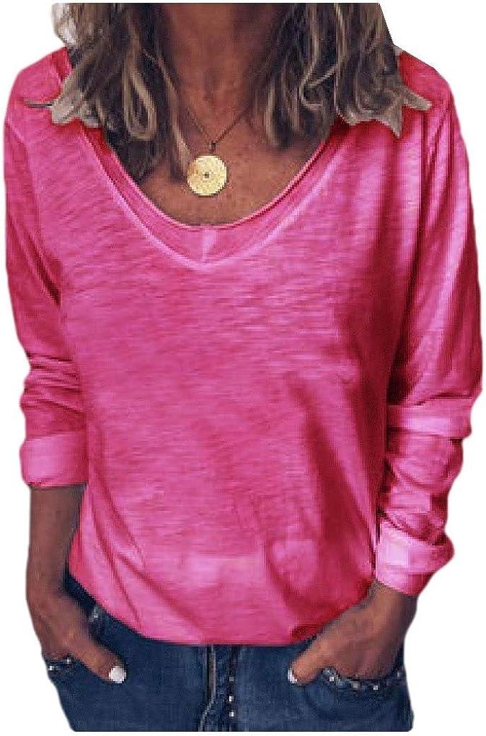 Tralounry Womens V Neck Pure Color Slim Tees Long Sleeve T Shirt Tunic Tops