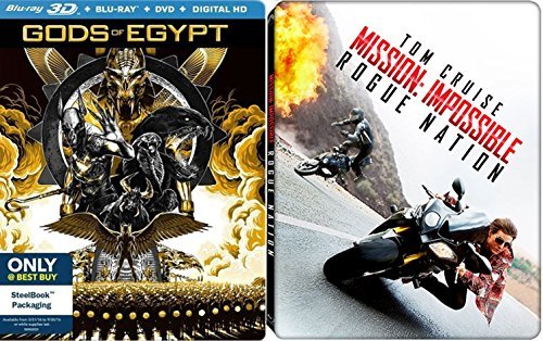 Rogue Nation Exclusive Steelbook + Gods of Egypt 3D Blu Ray DVD Edition + DHD Set Amazing Impossible Mission Epic Action Double Feature