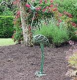 Seraphic Cast Iron Garden Art Crane Bird Statues, Antique Green