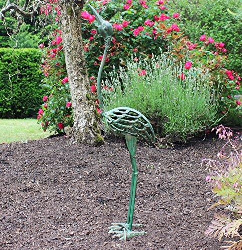 Seraphic Cast Iron Garden Art Crane Bird Statues, Antique (Outdoor Iron Garden Statues)