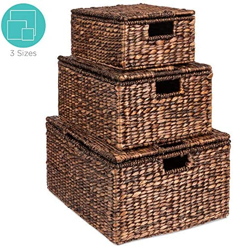 """Best Choice Products Set of 3 Large Multipurpose Hyacinth Storage Baskets w/Insert Handles, Lid - 21"""", 20"""", 18"""""""