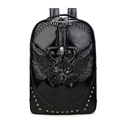 4dd6e3c6a99e Pattistore Punk Style 3D Animal Wolf Backpack School Bag Daypack Laptop Bag  Big Backpacks For Teen